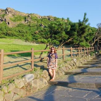Hiking up to Seongsan Ilchulbong Peak