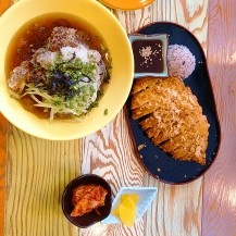 Pork cutlet with sweet potato and cheese, and cold buckwheat noodles at Bukchon Hanok Village