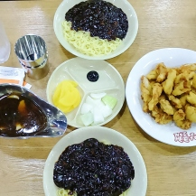 Perfect combination of jjajangmyeon and sweet and sour pork after hiking up Seongsan Ilchulbong
